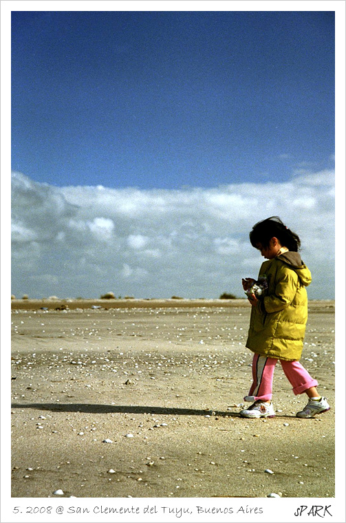A girl gathering shells